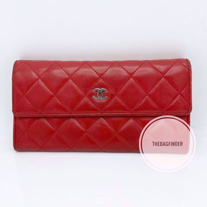 Picture of Chanel Lamskin Wallet Red