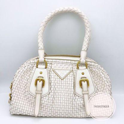 Picture of Prada Weave White Leather Tote